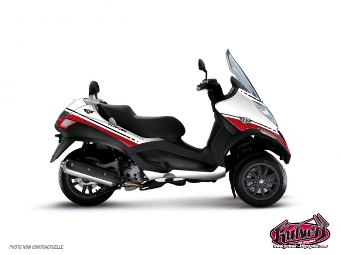 KIT DÉCO  COOPER   MAXI-SCOOTER   PIAGGO   MP3     BLANC-ROUGE