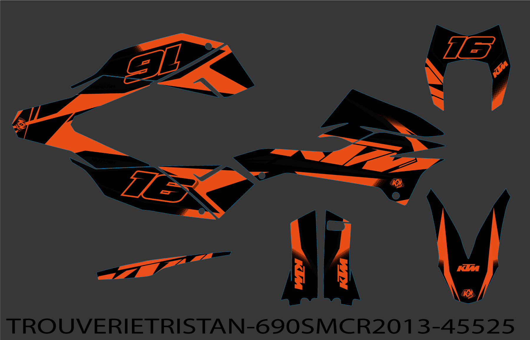 KIT DÉCO    MOTOCROSS   KTM   SMC 690 R   ORANGE-NOIR